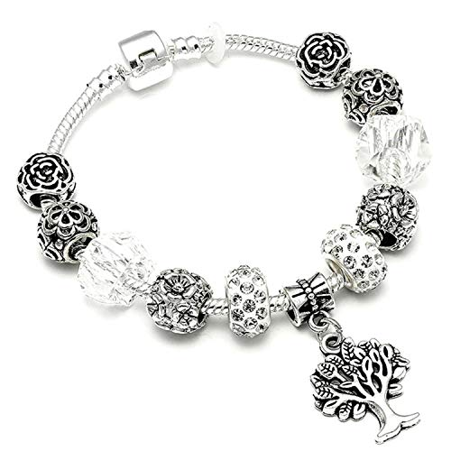 3959f31b4 Bracciali braccialetto Gioielli,925 Fashion Silver Charms Bracelet Bangle  For Women Crystal Flower Beads Fit