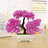 LWBAN-Flower Japanischer Pinien mit Schale,Bonsai Zeder,Home Hochzeit Dekoration,Hochwertiger Kunstbaum,Höhe ca. 20-24cm, 4