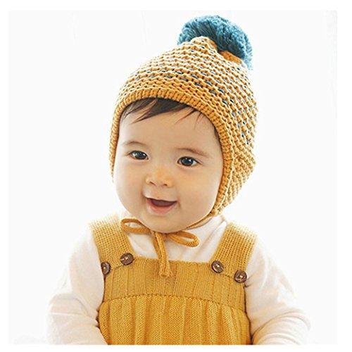Babybekleidung Hüte & Mützen Longra Winter Baby Kinder Mädchen Jungen Warme Wollene Haube Strickmütze Mützen Wolle Hüte(0-2YEARS) (Yellow)