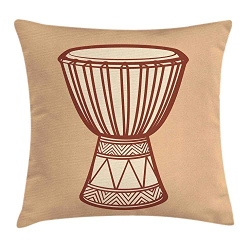 Drum Throw Pillow Cushion Cover, African Indigenous Djembe Exotic Native Percussion Rhythm Tribal Culture, Decorative Square Accent Pillow Case, 18 X 18 Inches, Sand Brown Beige Brown (Cover Djembe)