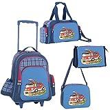 4 teiliges Reiseset Kinder Feuerwehr blau Trolley+Sporttasche+Umhängetasche+ Kulturtasche