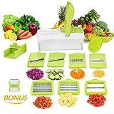 Mandoline 10 en 1 Multifonction Professionnelle Couper les Legumes Fruit Citron Vert 7 Lames Différentes Couteau en Acier Inoxydable Utilisation Rapide et Facile à Nettoyer de WEINAS (éplucheur par Bonus)