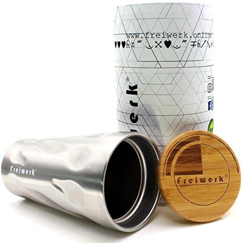 freiwerk® Thermo Tumbler Becher Kaffeebecher to Go Doppelwandig Edelstahl Style Mug 400ml