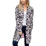 TianWlio Mäntel Frauen Herbst Winter Weihnachten Damen Langarm Leopard Drucktasche Mode Mantel Bluse T-Shirt Strickjacke Oberteil