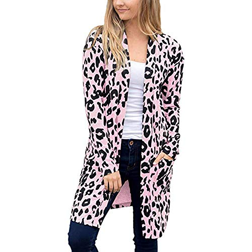 iHENGH Damen Herbst Winter Bequem Mantel Lässig Mode Jacke Frauen Langarm Leopardenmuster Tasche Mode Mantel Bluse T-Shirt Strickjacke Top(Rosa, 2XL) Leopard Satin Hut