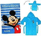 Unbekannt 2 TLG. Set _ Badetuch & Frottee Bademantel -  Disney Mickey Mouse  - incl. Name - 2 bis 4 Jahre / Gr. 92 - 110 - 100 % Baumwolle - mit Kapuze - für Kinder /..