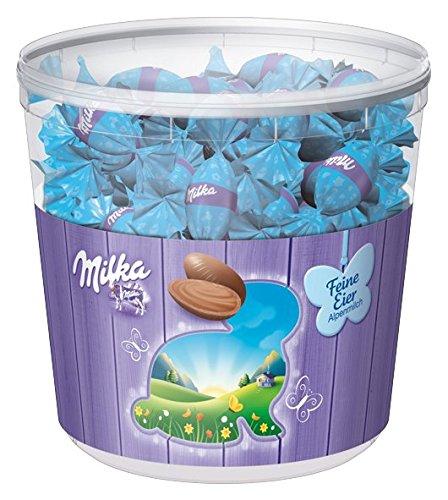Milka Feine Eier Alpenmilch - Neues Design - Zartschmelzende Schokoladeneier mit einer Alpenmilch Füllung in der praktischen Vorratsdose - 900g