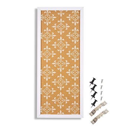 Kork Pinnwand-Deko Korkboard gerahmt, Wand Décor mit Weiß Floral Print-Perfekt für abstecken Memos und Erinnerungen-60,2x 24,6x 1,5cm