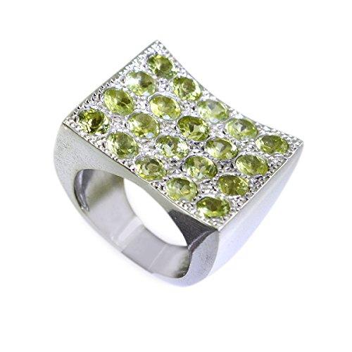 riyo Jaipur 925 Sterling Silber Charming natürlichen grünen Ring Geschenk 62 (19.7) - Batman-verlobungsring-box