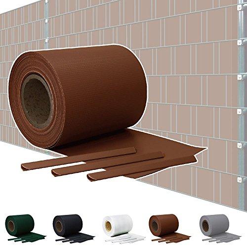 Kingpower Sichtschutz PVC Doppelstabmatten Zaunfolie Windschutz Sichtschutzstreifen Blickdicht Windschutz 5 Farben, Farbe:Braun, Rollenlänge:65 m