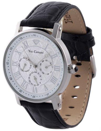 Yves Camani Barocco - Reloj de cuarzo para hombres, con correa de cuero de color negro, esfera plateada