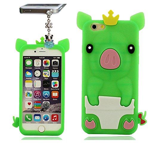 iPhone 6 6S Hülle ( 4.7 Zoll ) mit Hübsch hängende, Tier Type 3D Niedlich Schweinchen Serie Weiche Silikon Gel Material, Phone Case Skin Cover Handy Tasche schutzhülle für iPhone 6 6S ( iPhone 6 Plus  Grün
