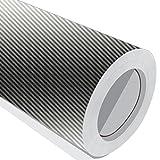 1Metre (1m) rollo de plata de fibra de carbono Wrap 700mm de ancho Vinilo autoadhesivo
