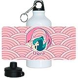 Trinkflasche mit Namen Dora und schönem Motiv mit Meerjungfrau in rosa für Mädchen | Aluminium-Trinkflasche