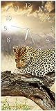 Wallario Design Wanduhr Leopard auf Baumstamm in Afrika aus Acrylglas, Größe 30 x 60 cm