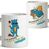Mug - A la Maison C'est Le Chat Qui Commande - Tasse pour Le Petit-déjeuner Originale et Amusante avec Un Message Rigolo. Cadeau pour amies ou à Offrir a la Famille.350 ML Céramique
