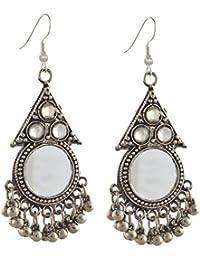 Zephyrr Jewellery German Silver Hanging Hook Dangle Earrings with Mirrors