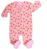 elowel Baby Girls Footed Dog Food Pajama Sleeper Fleece (Size 6 M-5 Years) 12-18 Months