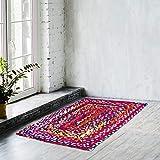Naqsh Alfombra de algodón de diseño rectangular de 2 x 3 pies, tejida a mano, multicolor, de algodón reciclado, reversible y