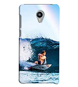 Blue Throat Men Surfing In Sea Hard Plastic Printed Back Cover/Case For Meizu M2