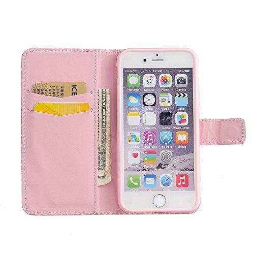 Linvei iPhone 5 5S SE Hülle Tasche im Bookstyle Standfunktion Schutzhülle Leder Case Cover für Apple iPhone 5 5S SE Rosa