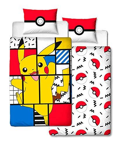 d960fc657ef7df Character World - Copripiumino Singolo Pokemon Pikachu, Licenza Ufficiale,  Double Face, Design Super
