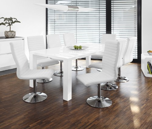 Esstisch-Gruppe weiß Hochglanz 200x100 cm recht-eckig mit 8 Lio Kunst-Leder Stühlen | Luca | Essgruppe Weiss mit 8 schwarzen Stühlen | Designer Tischgruppe mit ESS-Tisch weiß lackiert 9 TLG. - Designer Leder Stühle