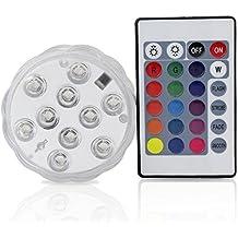 10 LED multicolor impermeable sumergible de luces LED para el banquete de boda Piscina, Fish Tank, decoraciones de Navidad de la luz con la batería del mando a distancia accionado