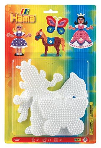 hama-4560h-loisirs-creatifs-blister-3-plaques-pour-perles-a-repasser-midi-princesse-cheval-papillon