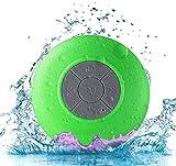 Cassa minispeaker altoparlante waterproof AXELENS - Con Bluetooth e microfono - Con ventosa per attaccarla a tutti i tipi di superfici - Rispondi alle chiamate e ascolta la tua musica sotto la doccia! - VERDE