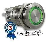 .drivezero. ToughSwitch '19 – Schalter Edelstahl (bis 230V / 5A) mit LED-Leuchtring Grün 12V, staub- und wasserdicht (IP67)