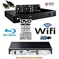 LG BP350 SMART Share Blu-Ray (EU REGION)/DVD (MULTIREGION) /CD Player, WiFi Enabled, Multi Room, Remote/Compact/Black with HDMILEAD