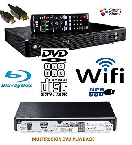 LG BP350 SMART Share Blu-Ray (EU REGION)/DVD (MULTIREGION) /CD Player, WiFi Enabled, Multi Room, Remote/Compact/Black with HDMILEAD