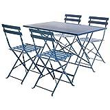 Charles Bentley - Salon de Jardin - Table rectangulaire/4 chaises - métal - Bleu...