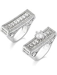 SHAZE Ravishing Square White Crystal Ring Rings for Women Ring for Girlfriend