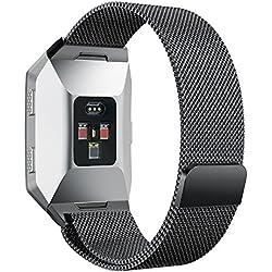 Correa Fitbit Ionic Reloj, MroTech Pulsera de Repuesto Correa de de metal de acero Reemplazo de Banda de Reloj Milanese Loop con cierre de cierre magnético para Fitbit Ionic Smartwatch (gris, pequeña)