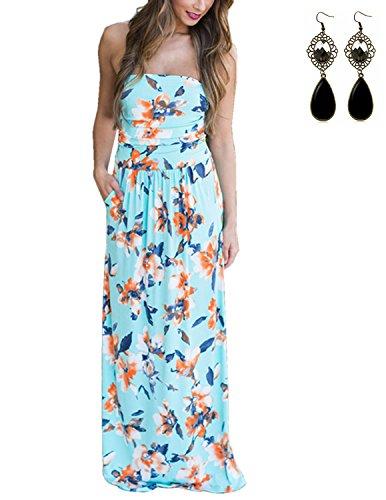 Sitengle Damen Strandkleider Sommerkleid Partykleid Bustier Kleider Lange Abendkleid Cocktailkleid Kleid Blau
