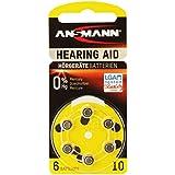 Ansmann 5013223 - Pila para audífono 10 zinc aire, 1,4V PR70 AZA10, 6 unidades, color amarillo