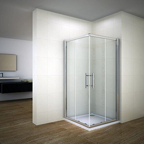Porte de douche coulissante 100x70x195cm cabine de douche angulaire 2 volets et 2 verres fixés