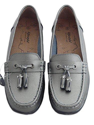 Scarpe da Donna in Pelle, Mocassini de Donna, Scarpe Senza Lacci, Scarpe Comode Peltro