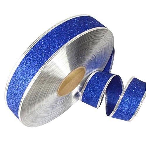 Huhuswwbin 2M Sparkle Glitter Ribbon Wrapping Bow Headband Xmas Decoration - Blue