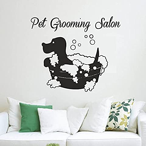 Pet Grooming Adhesivos Vinilo de pared salón pegatinas perro Pet Shop Animal Decor Nursery Dormitorio Pared Arte Diseño Interior (color blanco, 18.5