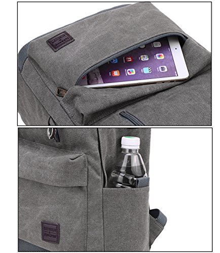 Super moderno unisex tela scuola borsa da viaggio USB Super Break auricolare con foro zaino da escursionismo Cool sport zaino borsa per computer portatile, donna, Lake Blue, L Khaki