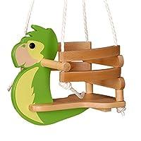 WICKEY Babyschaukel Papagei Babysitz Kleinkindschaukel Schaukelsitz, grün, L42XB30H35cm, Holz