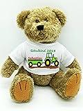 Kinderlampenland personalisierter Bär mit Traktor Kuscheltier für die Zuckertüte Schultüte mit Wunschname zur Einschulung Glücksbringer