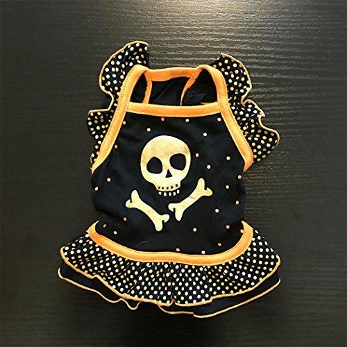 Haustier Kostüm, Hund Katze Haustier Schädel flounced Kleid Halloween Kleidung (Halloween Hund Kostüm Skelett)