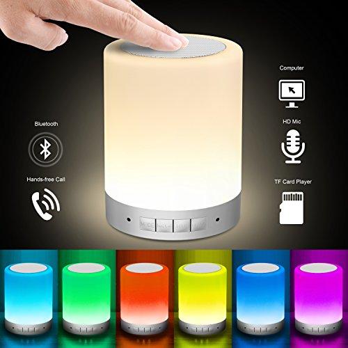 Elecstars Lámpara de Noche LED, con Altavoz Bluetooth Control táctil, Luz Nocturna Regulable, Nueva Tecnología Mejorada que Sigue el Ritmo de la Música, Regalo para Mujer, Hombre, Niño, con 16 millones de Colores de Degradado( Base Argénteo)