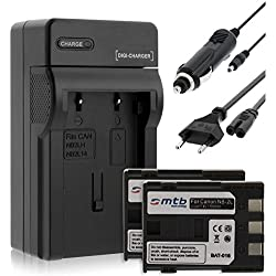 2 Batteries + Chargeur (Auto/Secteur) pour Canon NB-2L / EOS 350D 400D / Rebel XTi / DC... MD.. MV... - v. liste