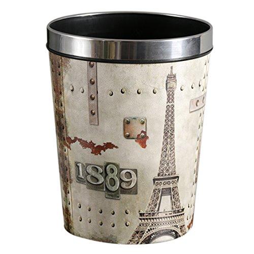 Jo332Bertram Poubelle Corbeille à Papier en Cuir Bacs à ordures Decorative pour Chambre, Salon, Bureau, 12L