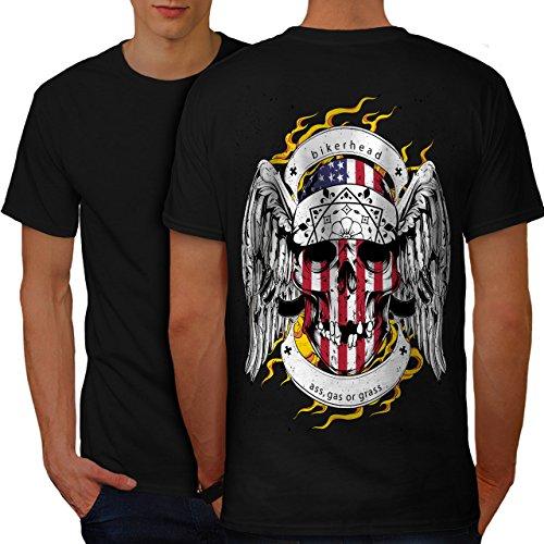 Schädel Motorradfahrer Kopf Gesicht USA Herren M T-shirt Zurück   Wellcoda (Basketball-gesicht Schild)